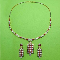 25.40 Grams Red Onyx & American Diamond Gold Plated Brass Ne