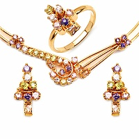 26.27 Grams Multistone Gold Plated Brass Necklace Set