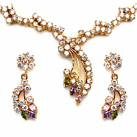 25.12 Grams Multicolor Cubic Zirconia Gold Plated Brass Neck