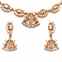 30.28 Grams White Cubic Zirconia Gold Plated Brass Necklace