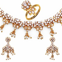 54.79 Grams White Cubic Zirconia Gold Plated Brass Necklace