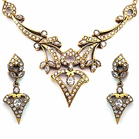 35.00 Grams White Cubic Zirconia Gold Plated Brass Victorian