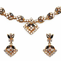 23.40 Grams White Cubic Zirconia & Black Glass Gold Plated B