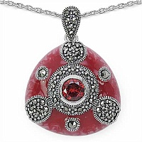10.39 Grams Marcasite & Red Cubic Zircon .925 Sterling Silve