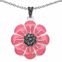13.00 Grams Marcasite Rhodium Plated Brass Pendant with Pink
