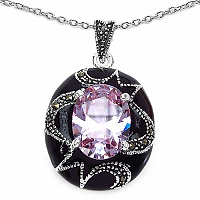 10.00 Grams Purple Cubic Zirconia & Marcasite Rhodium Plated Br