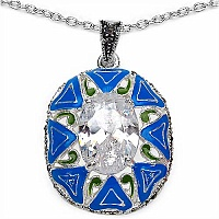 12.40 Grams White Cubic Zirconia Brass Green, Turquoise & Bl