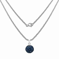 1.40 Grams Blue Crystal .925 Sterling Silver Ball Shape Pend