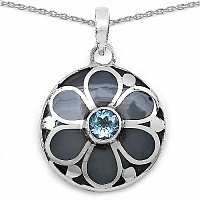 1.10CTW Genuine Blue Topaz .925 Sterling Silver Black Enamel Pe