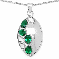 3.36CTW Green Cubic Zirconia .925 Sterling Silver Pendant