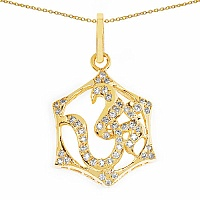 Shraddha 0.97CTW White Cubic Zirconia Brass Gold Plated Om Shap