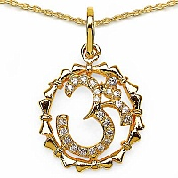 0.49CTW White Cubic Zirconia Brass Gold Plated Om Shape Pend