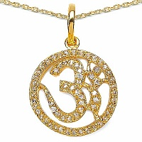 0.64CTW White Cubic Zirconia Brass Gold Plated Om Shape Pend