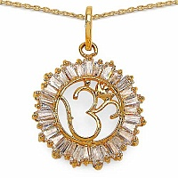 4.50 Grams White Cubic Zirconia Gold Plated Brass Om Shape P