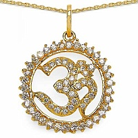 5.40 Grams White Cubic Zirconia Gold Plated Brass Om Shape P