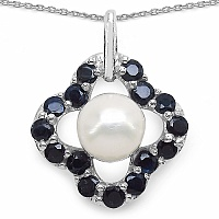3.65CTW Genuine Blue Sapphire & Pearl .925 Sterling Silver Pend