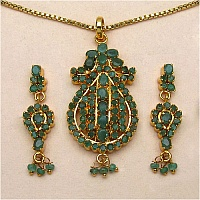12.70 Grams Green Cubic Zirconia Gold Plated Brass Pendant Set
