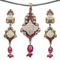 19.30 Grams Ruby, American Diamond & White Synthetic Pearl B