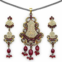 21.50 Grams Ruby, American Diamond & White Synthetic Pearl B