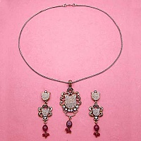 16.70 Grams Ruby, American Diamond & White Synthetic Pearl B