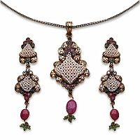 19.00 Grams Emerald, Ruby & American Diamond Brass Pendant Set