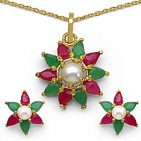 5.70 Grams Emerald, Ruby & Pearl Gold Plated Brass Pendant S