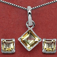 8.40 Grams Genuine Citrine Brass Square Shape Pendant Set