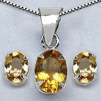 7.80 Grams Genuine Citrine Brass Oval Shape Pendant Set