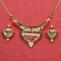 15.70 Grams Navratna Gold Plated Brass Pendant set