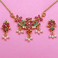 15.10 Grams Navratna Gold Plated Brass Pendant set