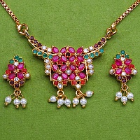 15.30 Grams Navratna Gold Plated Brass Pendant set