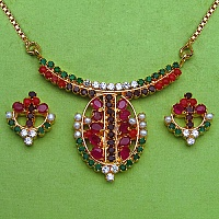 15.90 Grams Navratna Gold Plated Brass Pendant set