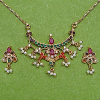 18.20 Grams Navratna Gold Plated Brass Pendant set