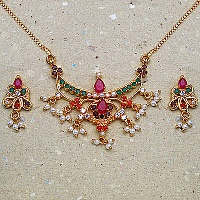17.70 Grams Navratna Gold Plated Brass Pendant set