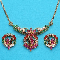 15.60 Grams Navratna Gold Plated Brass Pendant set