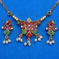 14.60 Grams Navratna Gold Plated Brass Pendant set