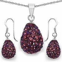 5.24 Grams Purple Crystal .925 Sterling Silver Drop Shape Penda