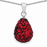 4.84 Grams Red Crystal .925 Sterling Silver Drop Shape Penda