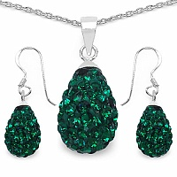 4.94 Grams Green Crystal .925 Sterling Silver Drop Shape Pendan