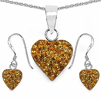 1.48CTW Yellow Crystal .925 Sterling Silver Heart Shape Pendant