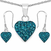 1.48CTW Turquoise Color Crystal .925 Sterling Silver Heart Shap