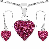 1.48CTW Pink Crystal .925 Sterling Silver Heart Shape Pendant S