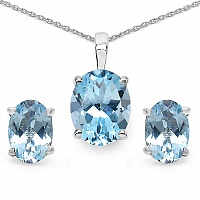4.50CTW Genuine Blue Topaz .925 Sterling Silver Oval Shape Pend