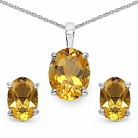 3.28CTW Genuine Citrine .925 Sterling Silver Oval Shape Pendant