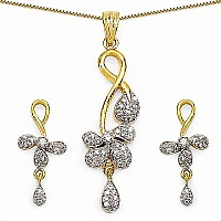 12.80 Grams White Cubic Zirconia Gold Plated Brass Pendant S