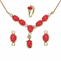7.80 Red Glass & White Cubic Zircon Gold Plated Pendant Set