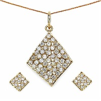 8.90 White Cubic Zircon Gold Plated Pendant Set