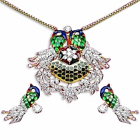 12.30 Grams White Cubic Zirconia Gold Plated Brass Blue, Green