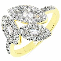 3.30 Grams White Cubic Zircon Gold Plated Brass Ring