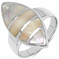 5.20 Grams Mother Of Pearl Rhodium Plated .925 Sterling Silver